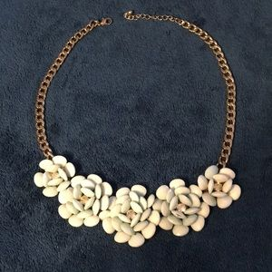 Jewelry - Flower cluster with diamond gem and gold necklace